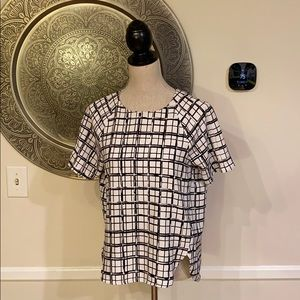 H&M White with black bold plaid blouse - Size 6